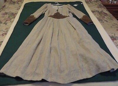 Vintage German Country Line Light Brown Long Sleeve Full Length Dress - Size 10