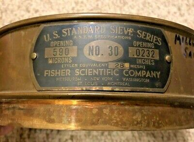 Fisher No. 100 Us Standard Testing Sieve 8 Brass 590 Microns .0232