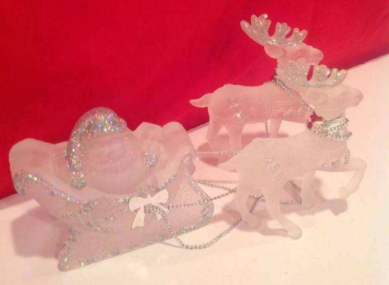Vintage Acrylic White Glass Reindeer & Santa In Sleigh Silver Glitter Bling EUC