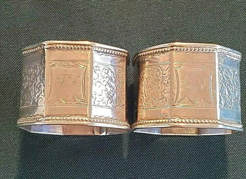 2 English Chased Sterling Napkin Rings Made in Birmingham in 1892  #11103
