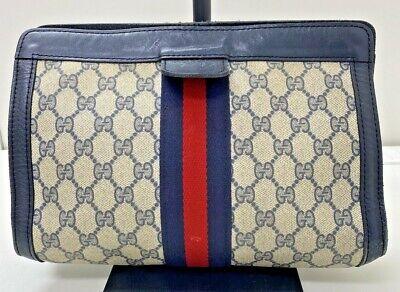Authentic vintage Gucci navy GG monogram PVC leather purse clutch hand bag