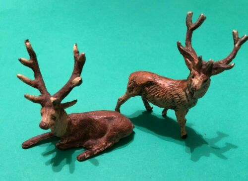 Vintage Cast Metal REINDEER Deer STAG Figurine PAIR (2) Christmas Putz GERMANY