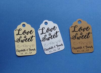 Bridal Shower Favor (Personalized Wedding, Bridal Shower favor tags. Love is Sweet!)