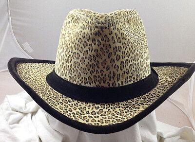 SCALA * LADIES FASHION LEOPARD PRINT HAT * NEW SUEDE SEXY SHAPEABLE DRESS COWBOY](Leopard Print Cowboy Hat)