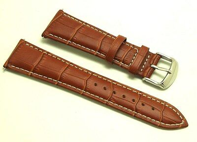 (23mm Brown Leather Alligator Grain Watch Band Contrast Stitch - Free Spring Bar)