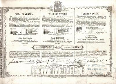 Kingdom Italy Bond Municipal Loan 1869 City Venice Venezia 30 lire Uncancelled