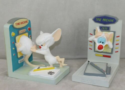 Warner Brothers Studio Store Pinky and Brain Book Ends 1990 Time Machine