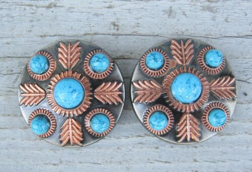 """Feathered Turquoise Concho Chicago Screw Copper Feather Set of 2 Pair 1"""" 1-1/2"""""""