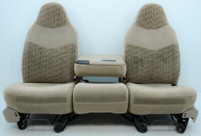 99-07 FORD F250 F350 SUPER DUTY FRONT TAN CLOTH SEATS CENTER CONSOLE JUMP SEAT