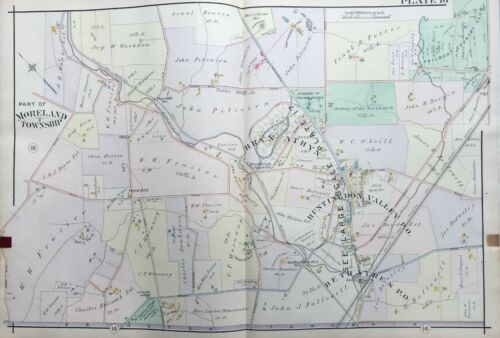 ORIG 1909 MONTGOMERY COUNTY, PA, MORELAND TWP, ACADEMY OF NEW CHURCH, ATLAS MAP