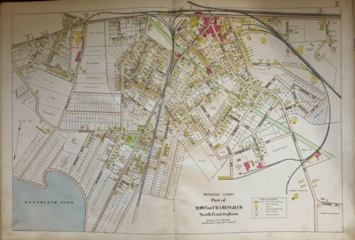 ORIG 1908 MIDDLESEX COUNTY, MA SOUTH FRAMINGHAM SHERBORN REFORMATORY ATLAS MAP