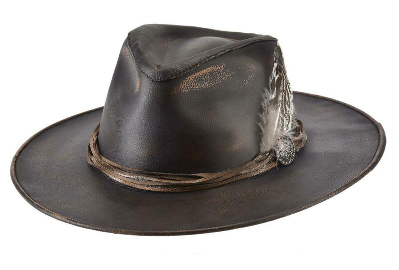 Top Grain Distress LEATHER Fedora Western Cowboy Hat Bullhide MonteCarlo ONE OFF