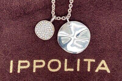 Ippolita Stardust Small Pave Wavy Disc Necklace Diamonds 2 Pendant Set Silver