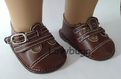 "Lovvbugg Brown Double Strap for 18"" American Girl or Bitty Baby Doll Shoes Clothes"