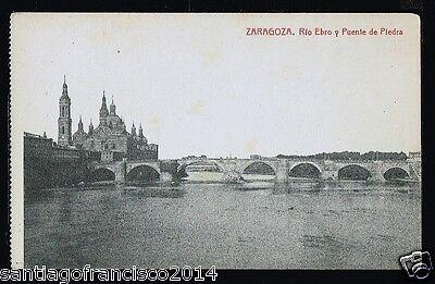 621.-ZARAGOZA -211 Rio Ebro y Puente de Piedra (Fototipia Thomas)