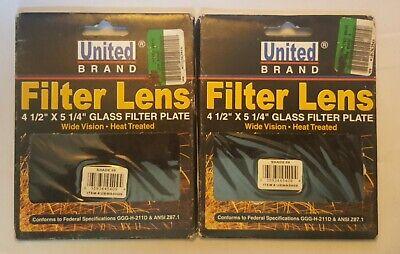 2 New United Brand Welding Helmet Glass Filter Lens Plate 4.5 X 5.25 Aa11