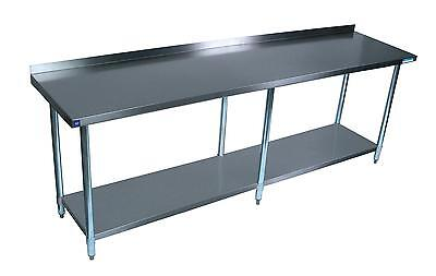 Bk Resources 96x30 Work Table 18g Stainless Steel Top W 1.5 Rear Riser