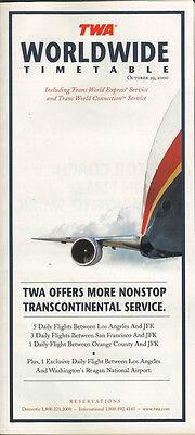 TWA system timetable 10/29/00 [308TW] Buy 2 Get 1 Free