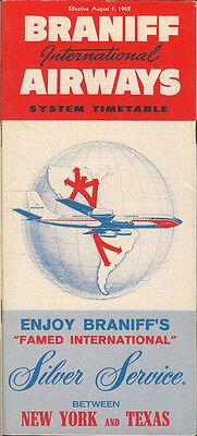Braniff International Airways system timetable 8/1/62 [5044]
