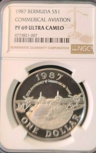1987 BERMUDA SILVER $1 COMMERCIAL AVIATION  NGC PF 69 ULTRA CAMEO LOW MINTAGE