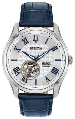 Bulova Wilton Men's 96A206 Automatic Blue Leather Strap 42mm Watch