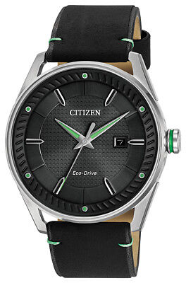 Citizen Eco-Drive Men's CTO Green Accent Black Leather 42mm Watch BM6980-08E
