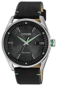 Citizen Eco-Drive Men's CTO Green Accent Black Leather 42mm Watch BM6980-08E