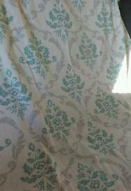 2x pairs cream patterned curtains