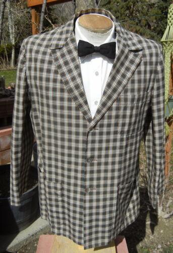 VTG 1960s Plaid 3 Button Blazer 44 - Light, Washable Summer Jacket by BUCK SKEIN