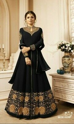 Best Blue Black Designer anarkali salwar kameez suits Indian bollywood