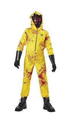 NEW! Zombie Hazmat Costume Kids SIZE Medium 8/10 ~ Halloween Dressup With blood