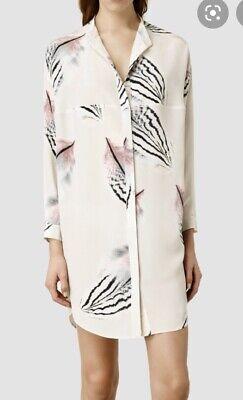 Allsaints Helle Puma Shirt Dress Size 14 Amazing Feather Print! 100% Silk Vgc