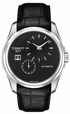 $825 Tissot Couturier Automatic Black Leather Men's Swiss Watch T0354281605100