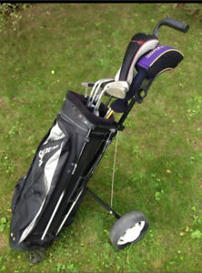 Golf cart, golf bag, right hand clubs, balls