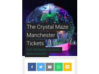 For sale x2 Crystal maze manchester tickets can be used anytime including Saturday's. £90 for both.