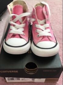 Pink Hightop converse toddler size 4