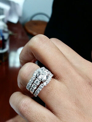 3.30 Ct. Round Cut Pave Natural Diamond Wedding Set - GIA Certified & Appraised