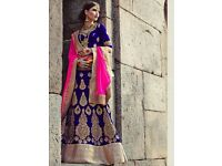 Stitched Royal Blue and Pink Wedding Lehenga for sale! Never worn, Size small.