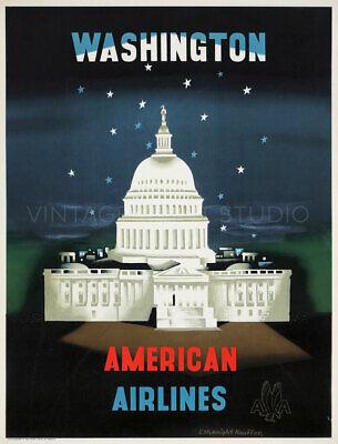 Washington Vintage Air Travel Advertising Poster Giclee Canvas Print 20x27