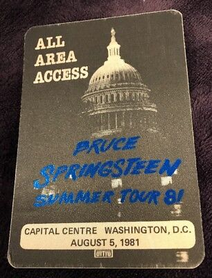 Bruce Springsteen Washington DC Capitol Centre All Area Access Pass 8-5-1981