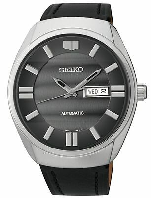 Seiko Recraft Men's Automatic Stainless Steel Leather Strap Watch SNKN07