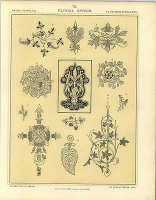 1880 Floral Sprigs : Oak Vine Scroll Work Foliated Cross Fruit Sprig