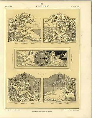 1880 Figures : Clock Panel And Panels Of Morning Noon Evening And Night