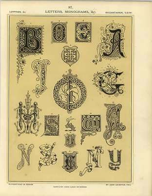 1880 Letters Monograms : Various Letters Treated Ornamentally