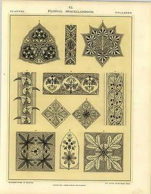 1880 Floral : Borders And Centres For Painting Marble Wood Woven Fabrics