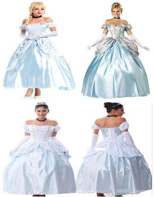 Damen Cinderella Aschenputtel Sissi Princess Kleid Karneval Kostüm Cosplay Party online kaufen