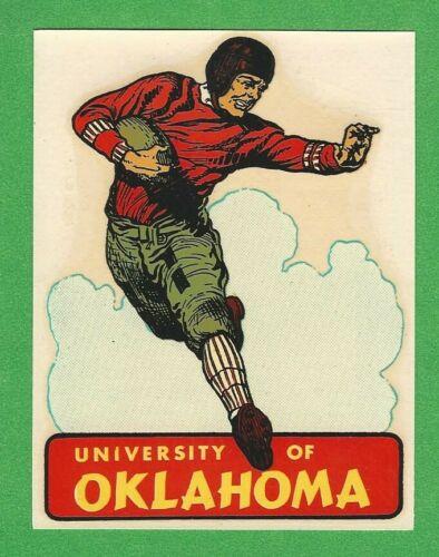 "VINTAGE ORIGINAL 1948 SOUVENIR ""UNIVERSITY OF OKLAHOMA"" FOOTBALL WATER DECAL ART"