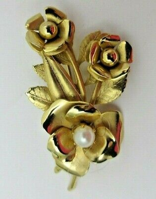 Floral Bouquet BROOCH Pin Gold Tone Genuine Pearl Pretty Glossy Roses Flowers