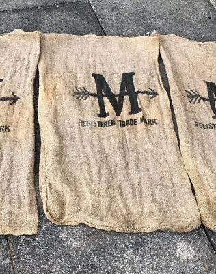 Old Vintage M & Arrow Hessian Sack Advertising Letter M Monogram