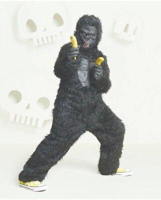 NWT Kid's Deluxe Gorilla Halloween Costume 1 Pc Hyde & Eek L & XL Jumpsuit Ape - Kids Gorilla Costume